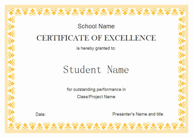 Award Certificate Template Free Download Fresh 8 Student Award Certificate Examples Psd Ai Doc