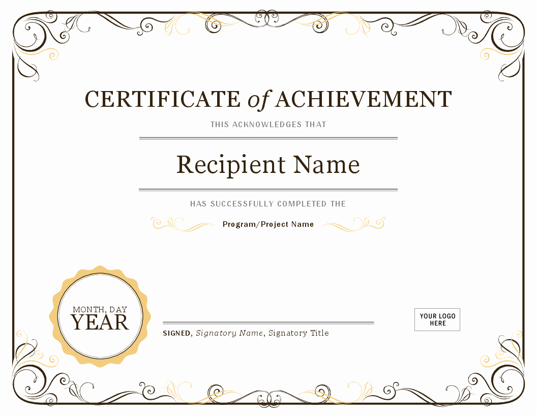 Award Certificate Template Free Download Inspirational Certificate Of Achievement