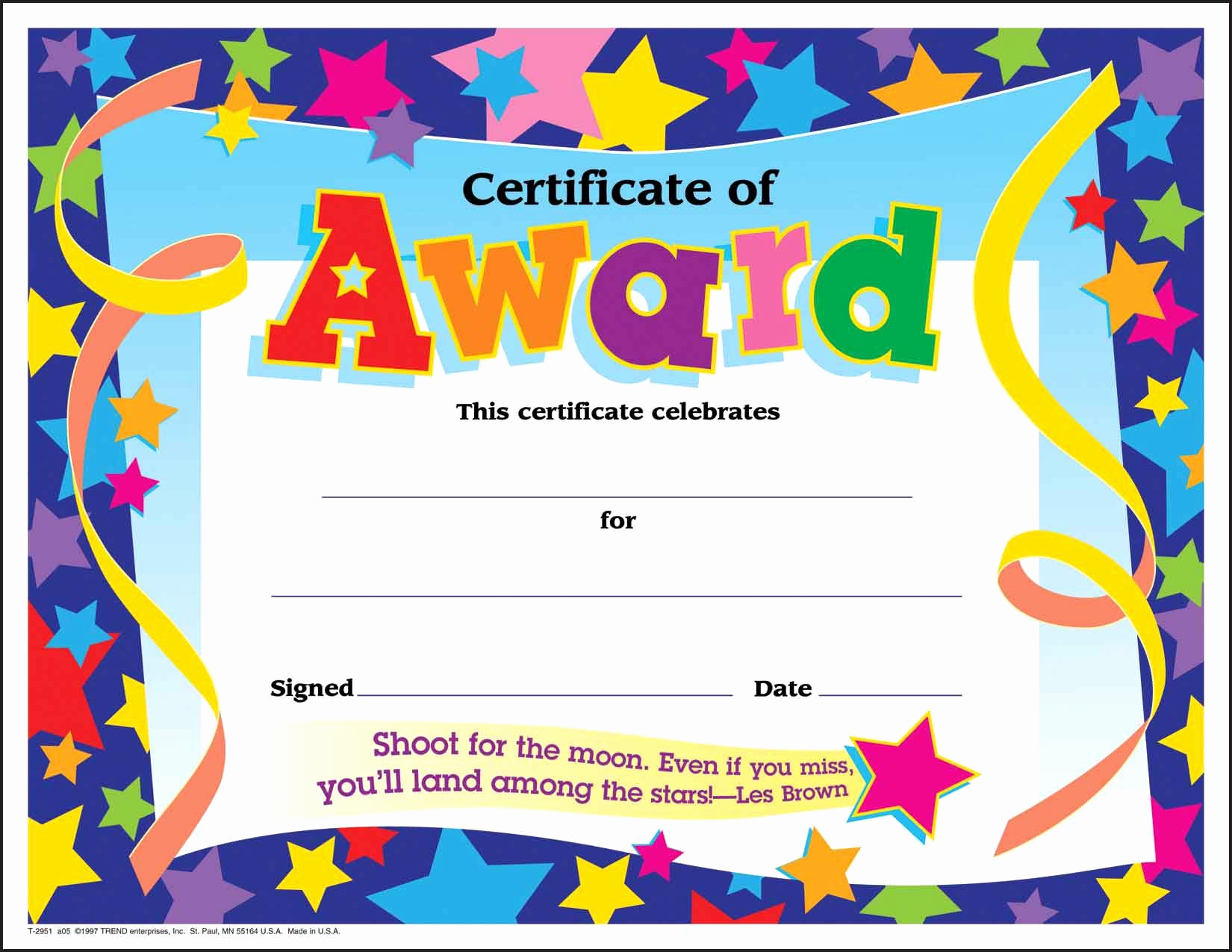 Award Certificate Template Free Download Luxury Certificate Template for Kids Free Certificate Templates