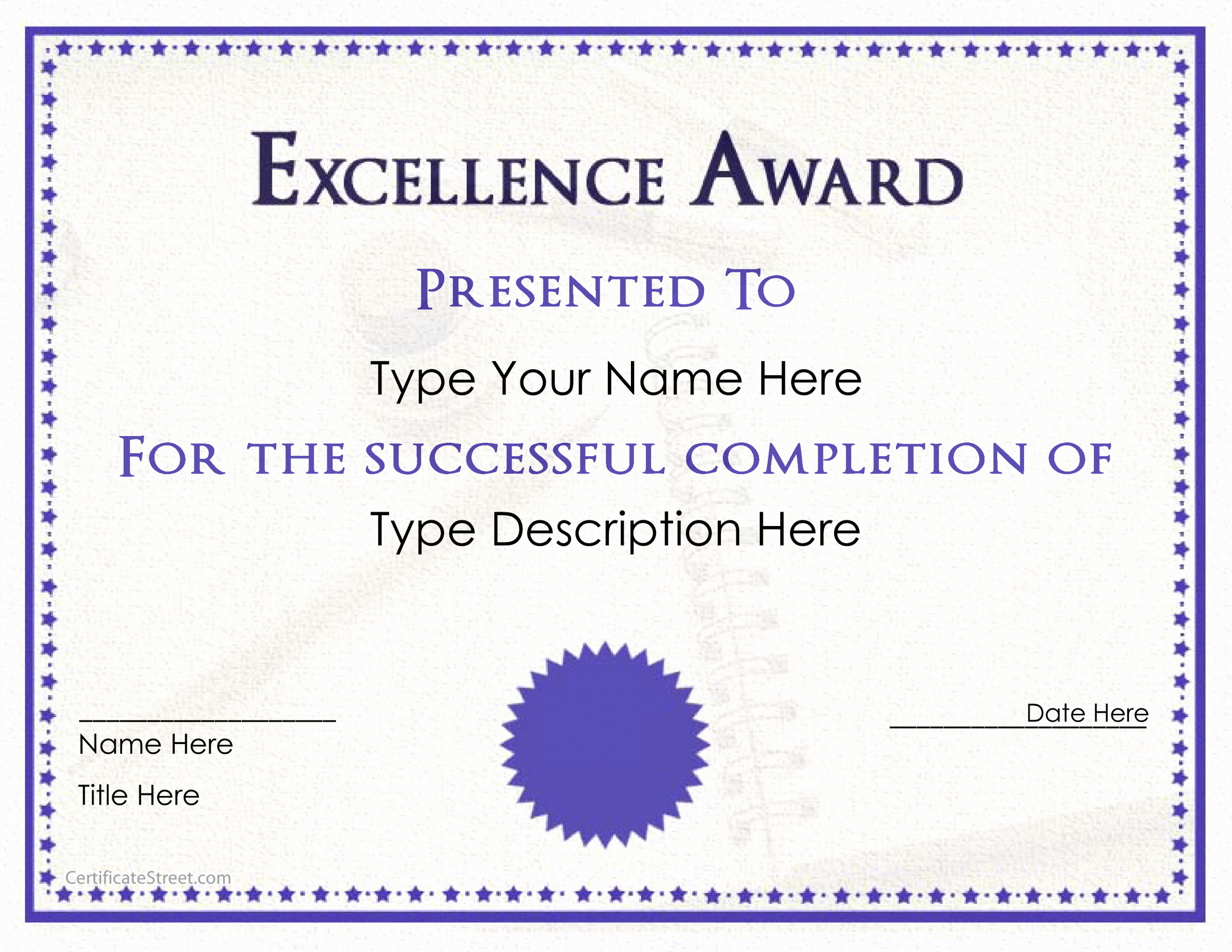 Award Certificate Template Free Download Unique Excellence Award Certificate