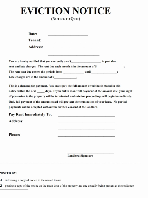 Baby Eviction Notice Template Lovely Eviction Notice forms
