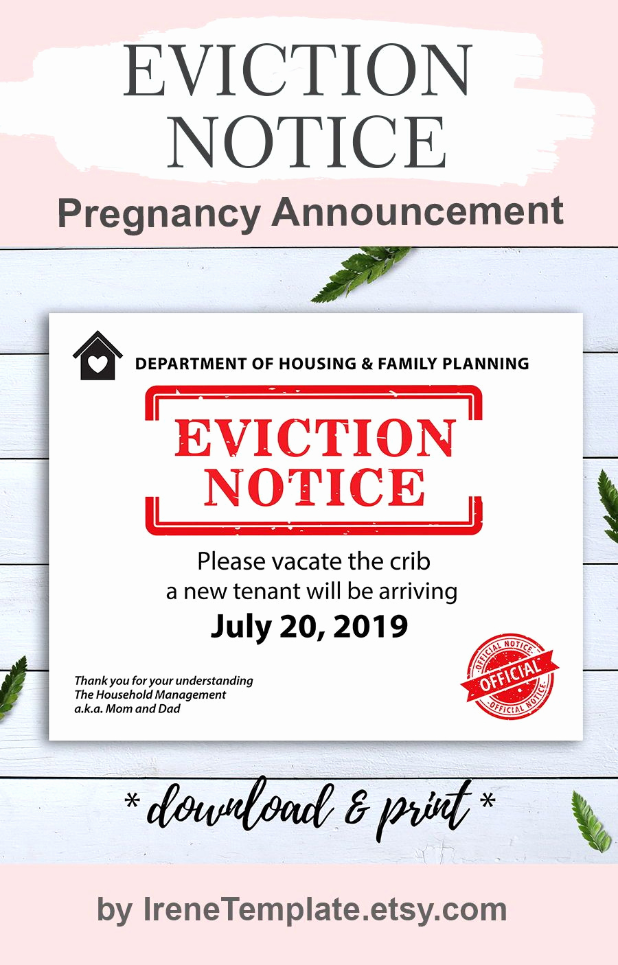 Baby Eviction Notice Template New Pin On Eviction Notice Pregnancy Announcement