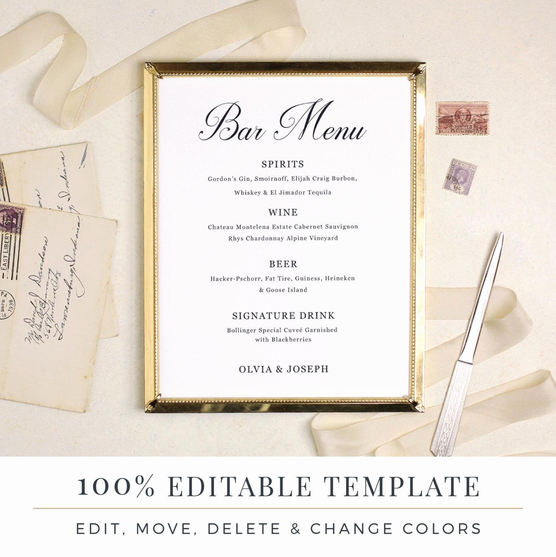 Bar Menu Template Free Awesome Wedding Bar Menu Template Editable Bar Menu Printable Word