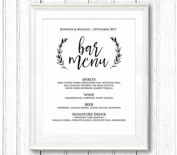 Bar Menu Template Free Beautiful Wedding Bar Menu Sign Printable Reception Sign Template