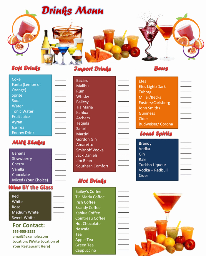 Bar Menu Template Free New 5 attractive Drink Menu Templates for Your Bar Business