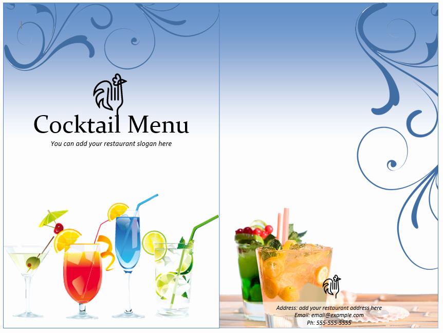 Bar Menu Template Free Unique Cocktail Menu Template Word Templates