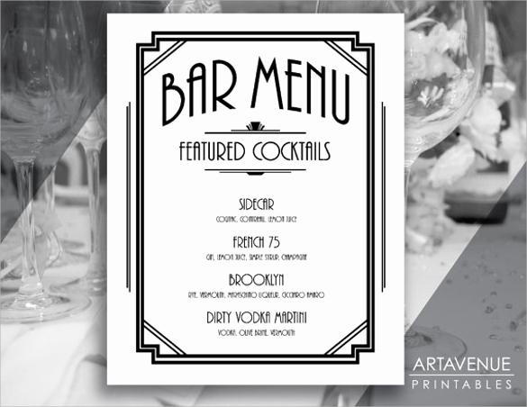 Bar Menu Template Free Unique Free 30 Bar Menus Templates In Illustrator