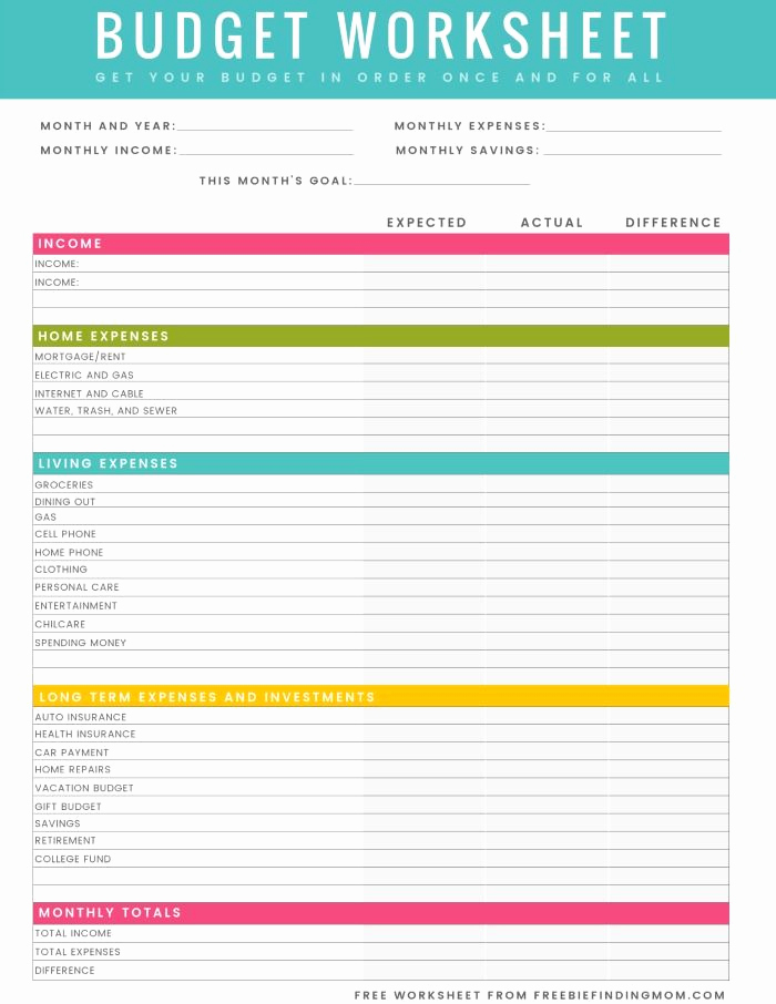 Basic Household Budget Template Beautiful Free Printable Household Bud Worksheet