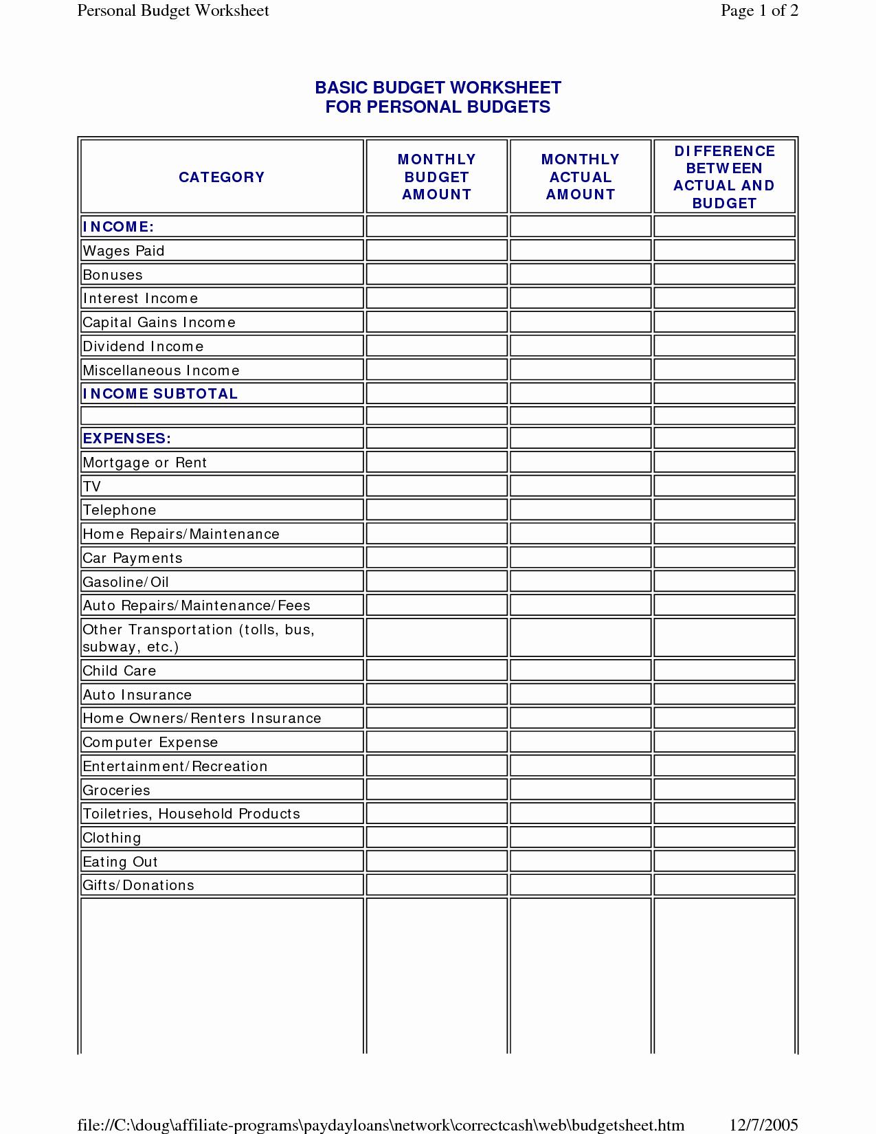 Basic Household Budget Template Elegant 17 Best Of New Home Bud Worksheet Basic Bud