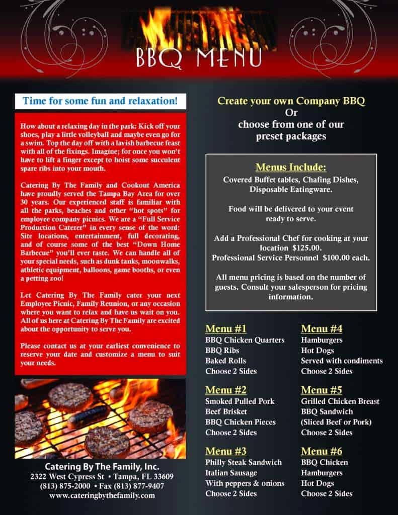 Bbq Catering Menu Template Best Of Bbq Menu Templates Word Excel Fomats