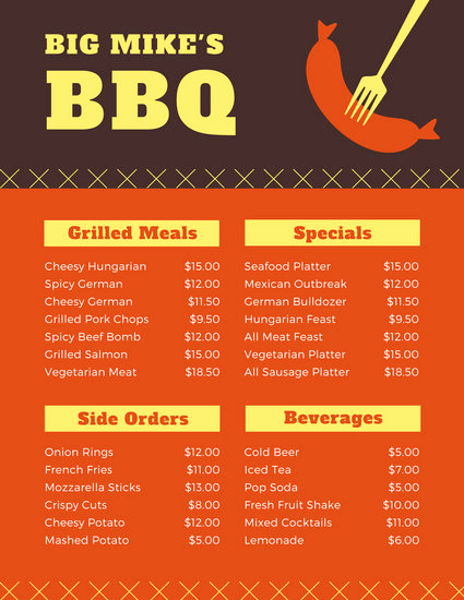 Bbq Catering Menu Template Lovely Customize 171 Bbq Menu Templates Online Canva