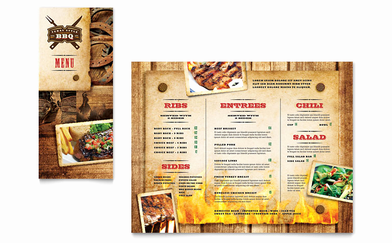 Bbq Catering Menu Template Lovely Steakhouse Bbq Restaurant Take Out Brochure Template