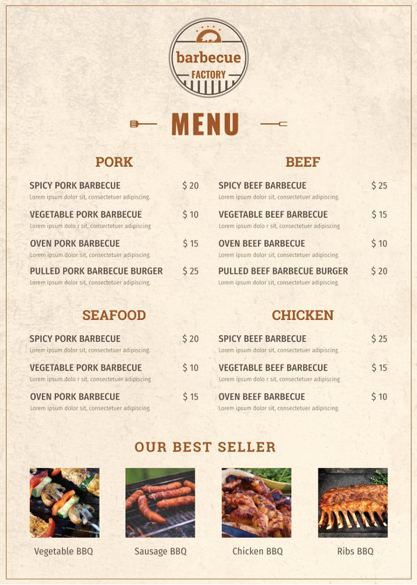 Bbq Catering Menu Template New 40 Menu Design Templates – Free Sample Example format