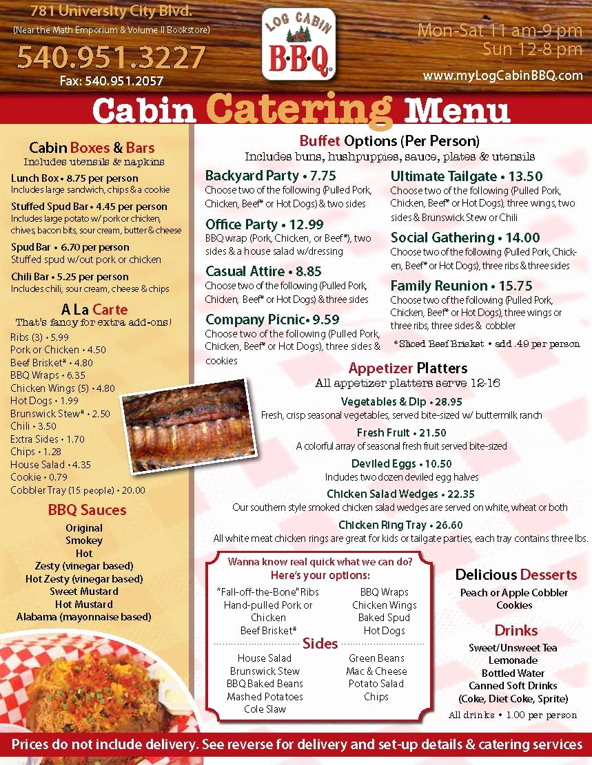 Bbq Catering Menu Template Unique Log Cabin Bbq Catering Menu