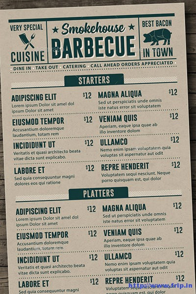 Bbq Menu Template Free Best Of 100 Great Restaurant Food Menu Print Templates 2016