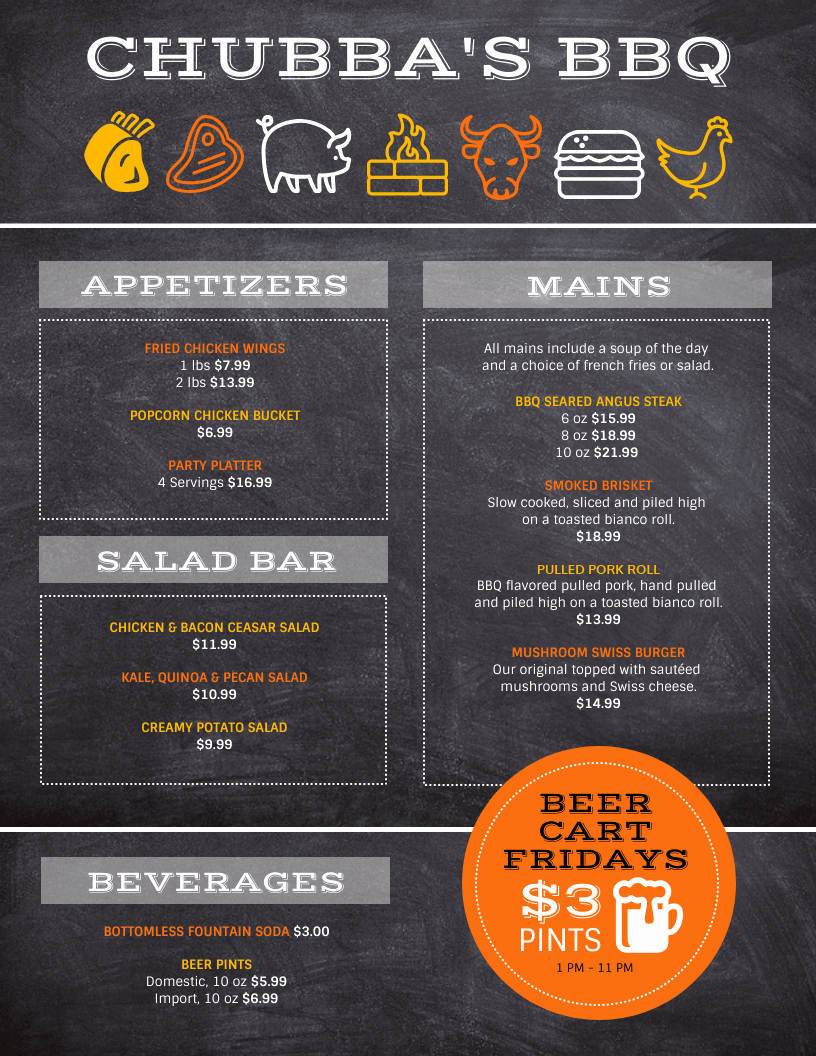 Bbq Menu Template Free Elegant Bbq Menu Template