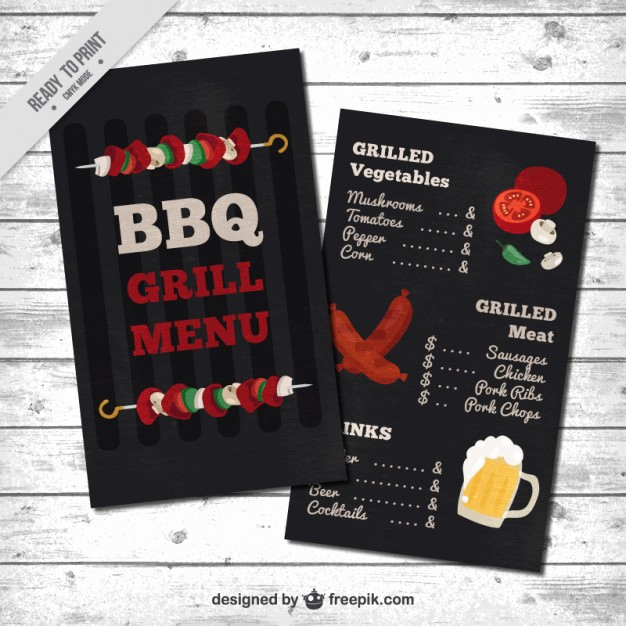 Bbq Menu Template Free Fresh Barbecue Menu Template Vector