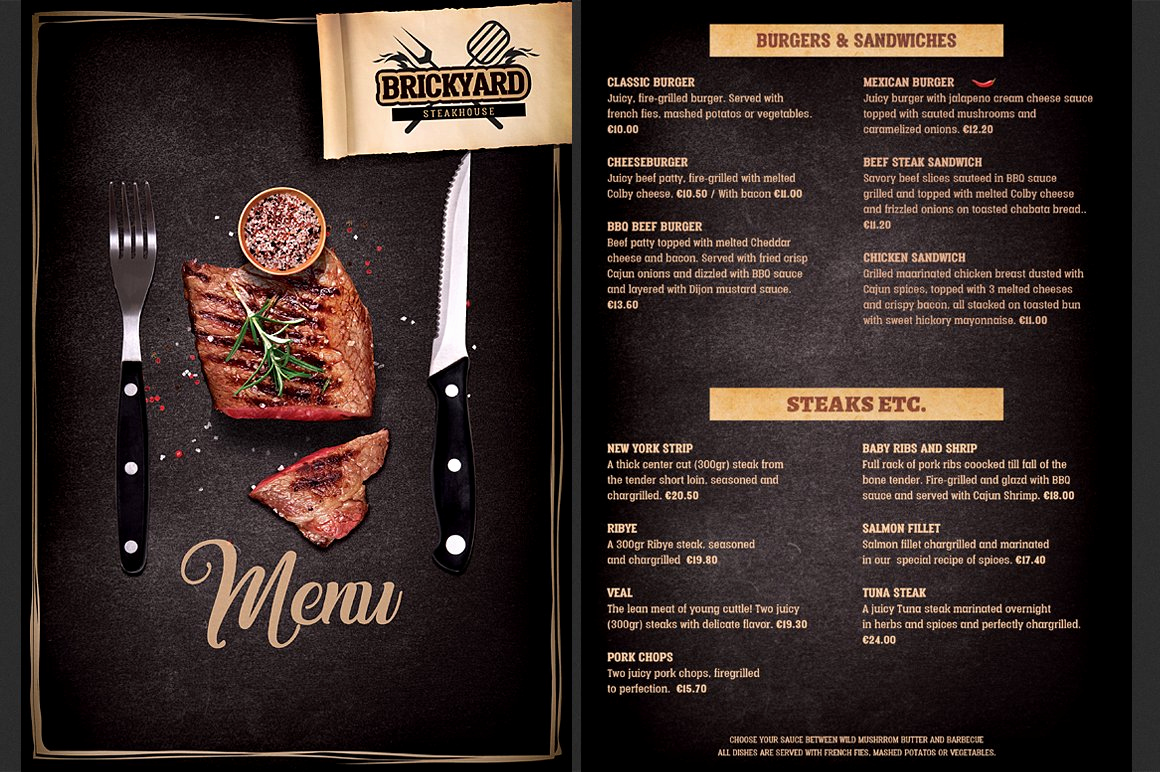 Bbq Menu Template Free Fresh Steak House Food Menu Brochure Templates Creative Market