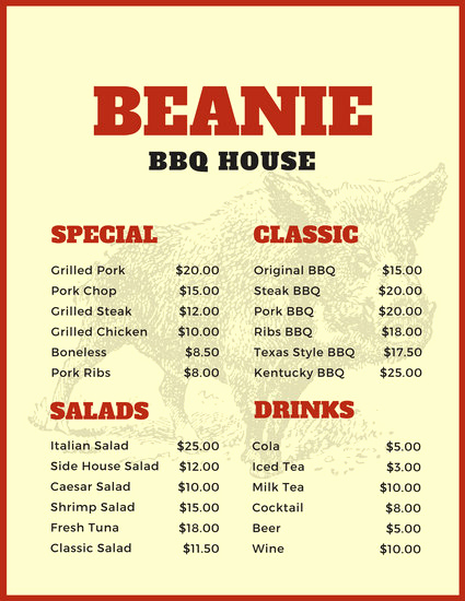 Bbq Menu Template Free Luxury Customize 171 Bbq Menu Templates Online Canva