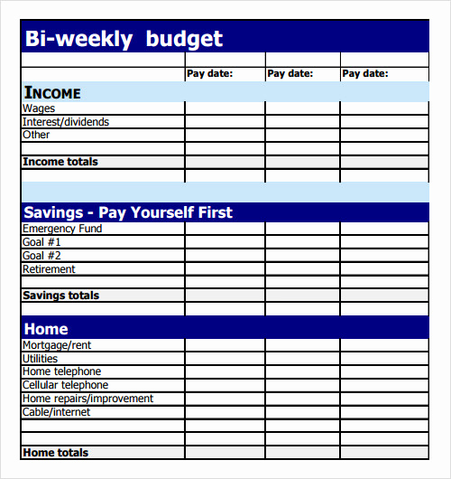 Bi Monthly Budget Template Lovely Free 8 Sample Bud Templates In Pdf