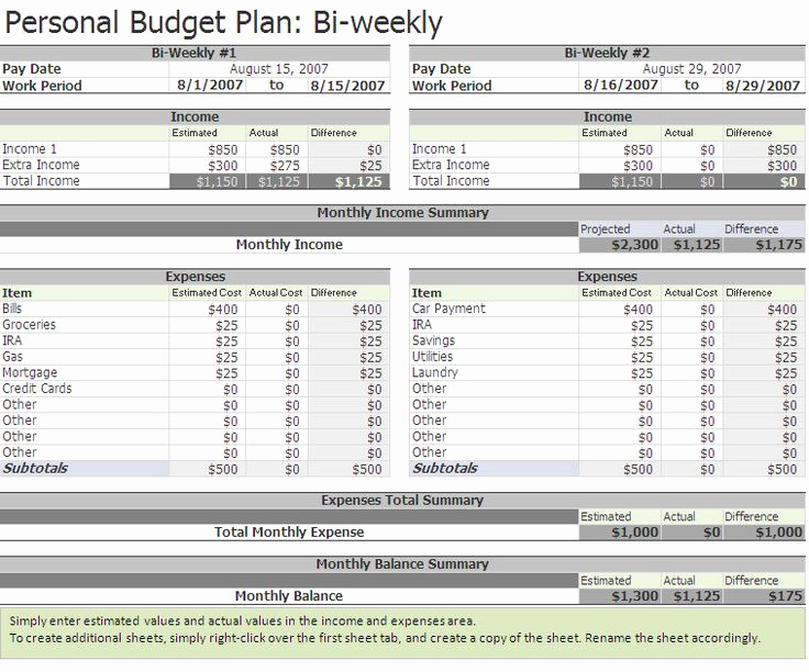 Bi Monthly Budget Template Unique Free Biweekly Bud Excel Template