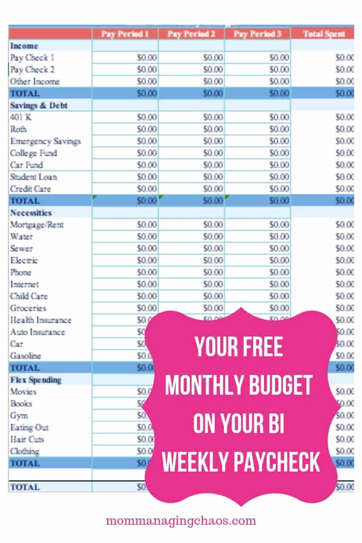 Bi Monthly Budget Template Unique How to Bud Biweekly Pay Paying Monthly Bills