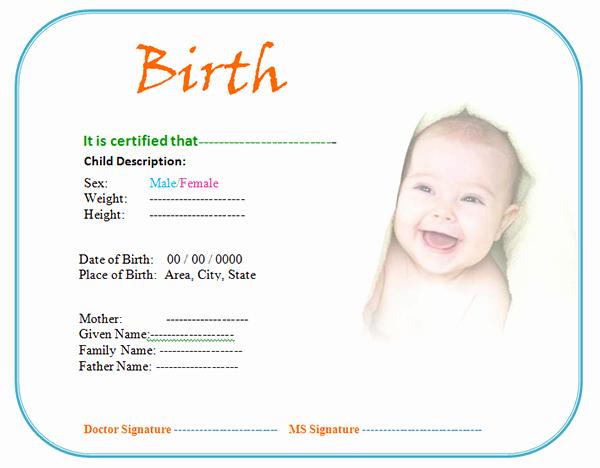 Birth Certificate Template Doc Elegant 13 Free Birth Certificate Templates