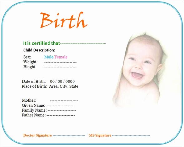 Birth Certificate Template Doc Fresh Free 17 Birth Certificate Templates In Illustrator