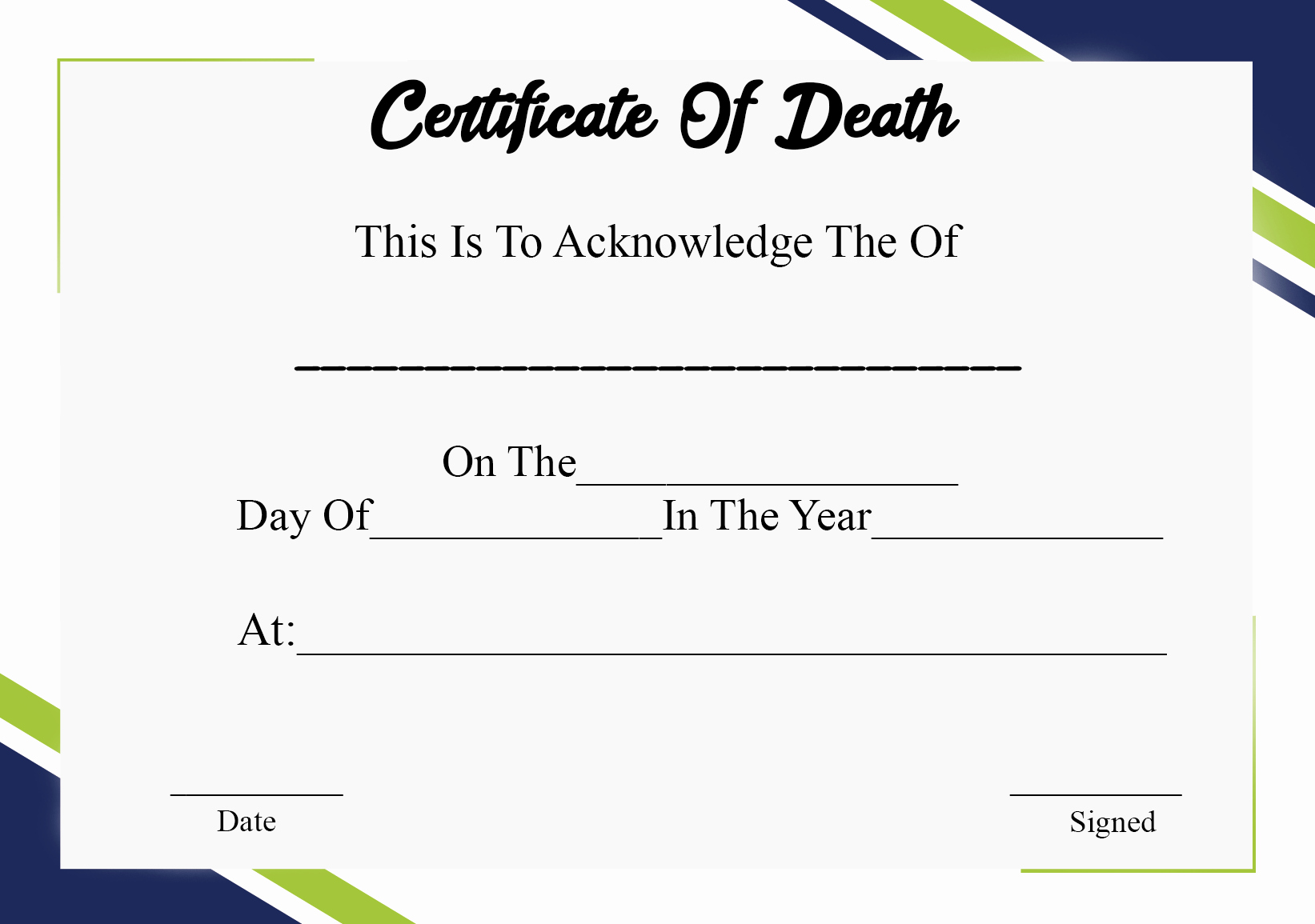 Blank Death Certificate Template Awesome 5 Printable Certificate Death Templates with Samples