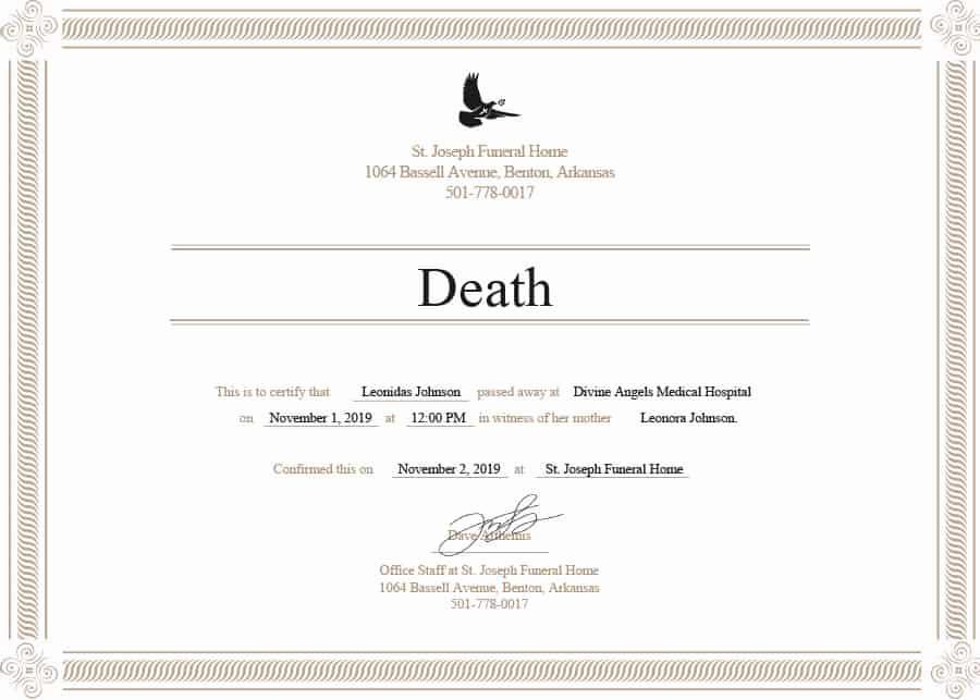 Blank Death Certificate Template Best Of 37 Blank Death Certificate Templates [ Free] Templatelab