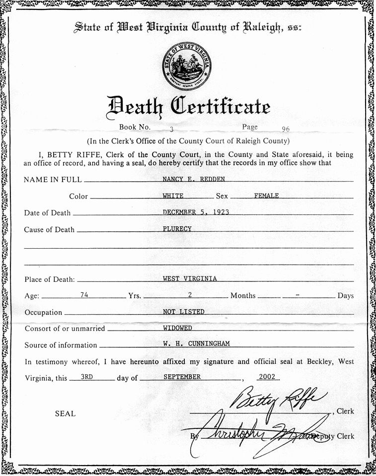 Blank Death Certificate Template Best Of the Descendants Of William Redden Sr