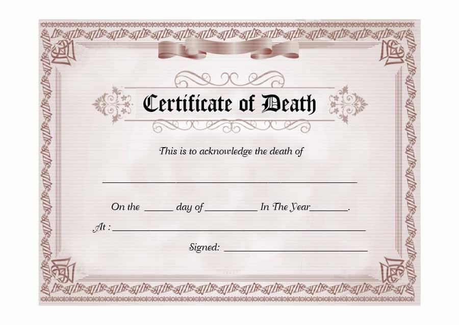 Blank Death Certificate Template Elegant 37 Blank Death Certificate Templates [ Free] Templatelab