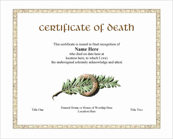 Blank Death Certificate Template Elegant 7 Free Death Certificate Templates formats & Designs