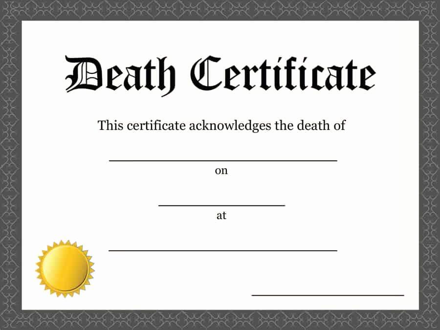 Blank Death Certificate Template Fresh 37 Blank Death Certificate Templates [ Free] Templatelab