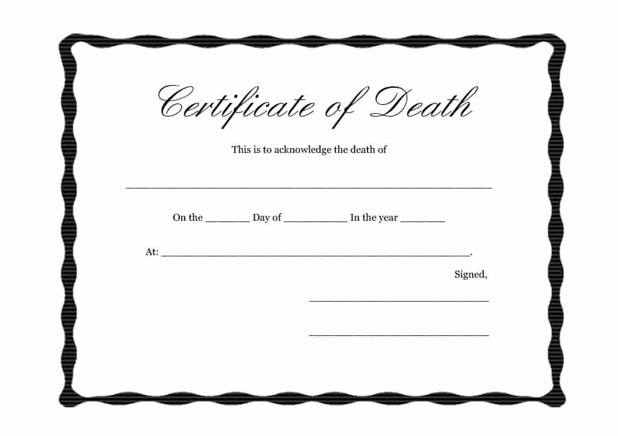Blank Death Certificate Template Inspirational 37 Blank Death Certificate Templates [ Free] Templatelab