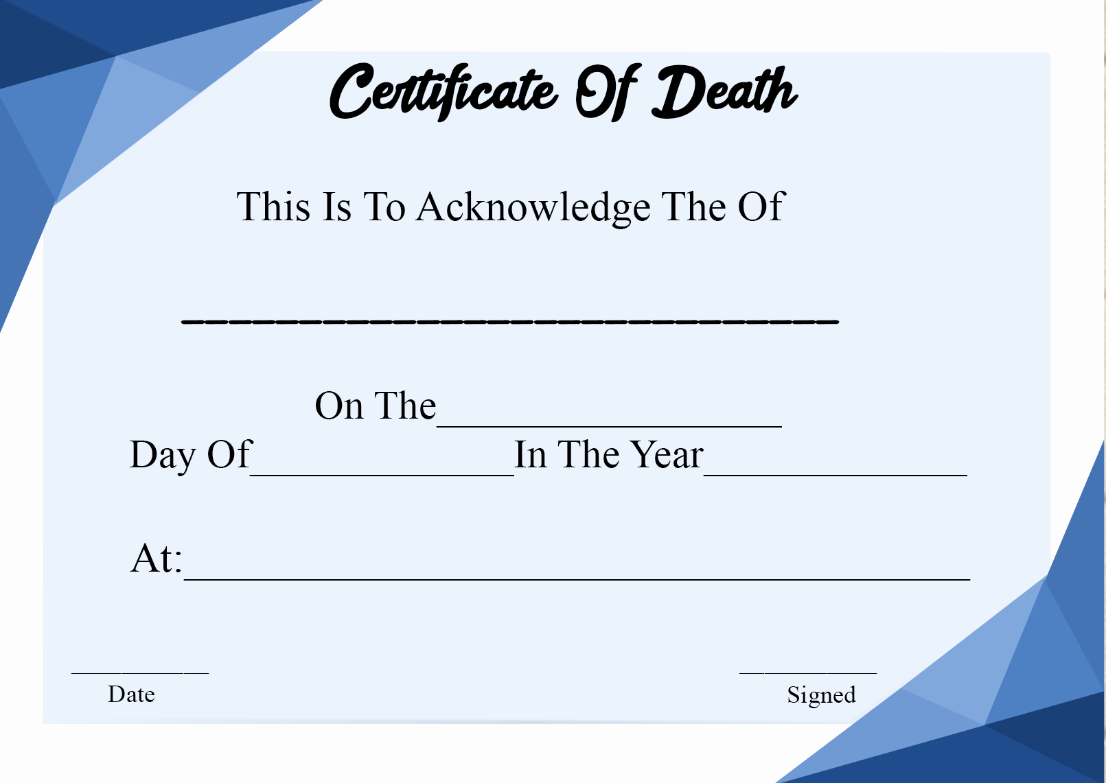 Blank Death Certificate Template Inspirational 5 Printable Certificate Death Templates with Samples
