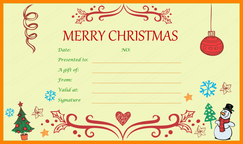 Blank Gift Certificate Template Word Beautiful 9 Christmas Coupon Template