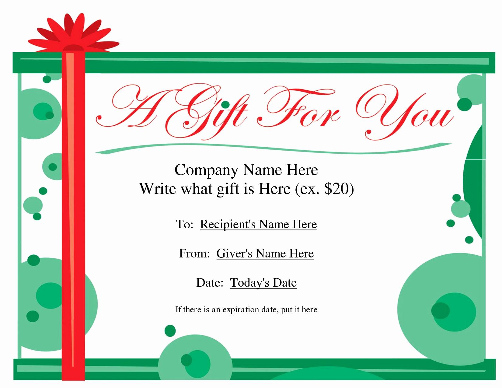 Blank Gift Certificate Template Word Fresh Free Printable Gift Certificate Template