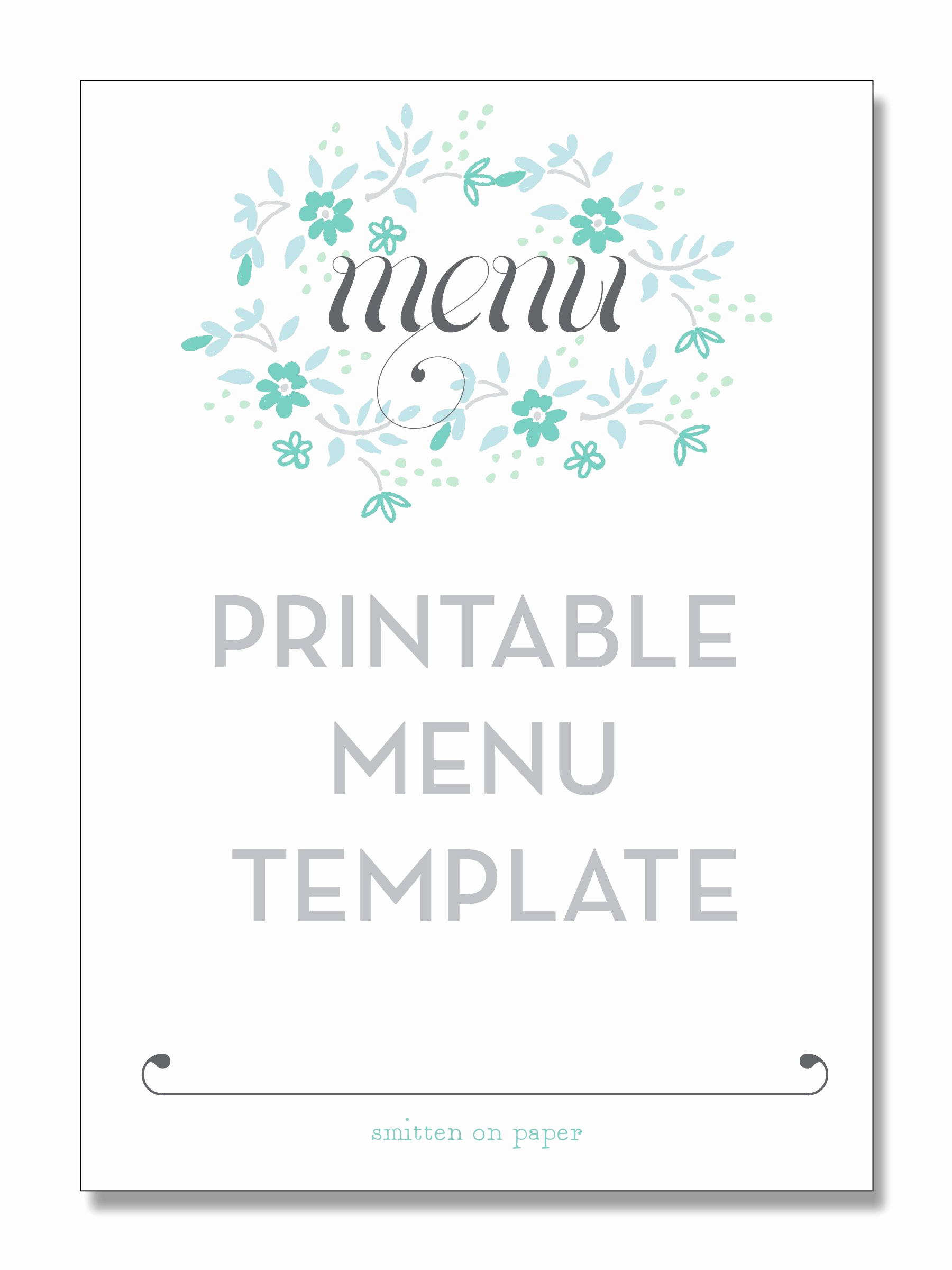 Blank Menu Template Free Download Lovely Freebie Friday Printable Menu