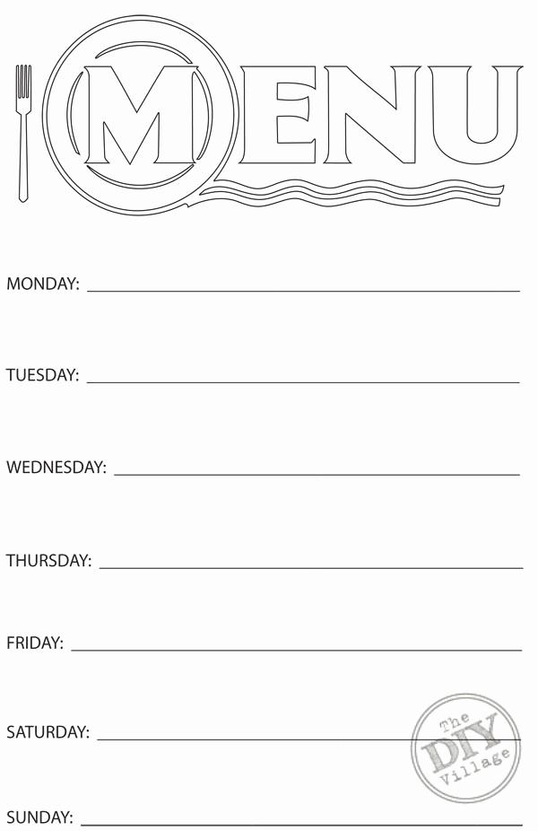 Blank Menu Template Free Download New Free Printable Weekly Menu Planner the Diy Village