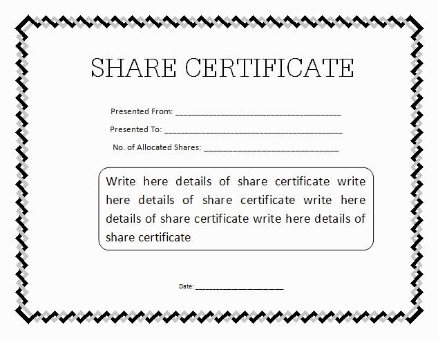 Blank Stock Certificate Template Free Inspirational Stock Certificate Template Doc