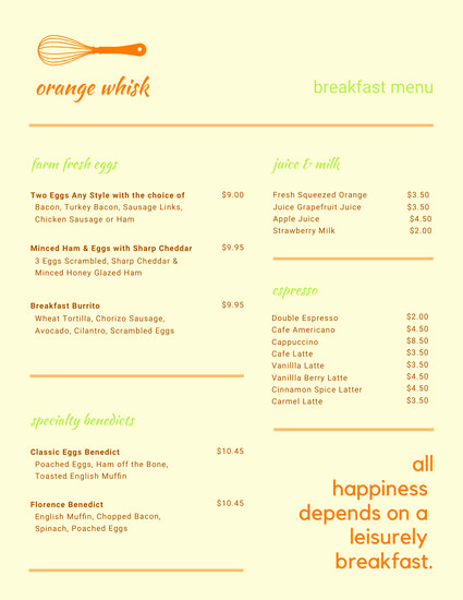 Breakfast Menu Template Free Awesome Customize 62 Breakfast Menu Templates Online Canva