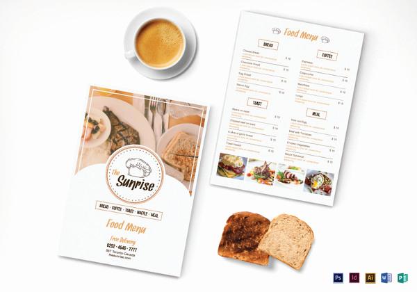 Breakfast Menu Template Free Beautiful 32 Breakfast Menu Templates Free Sample Example format