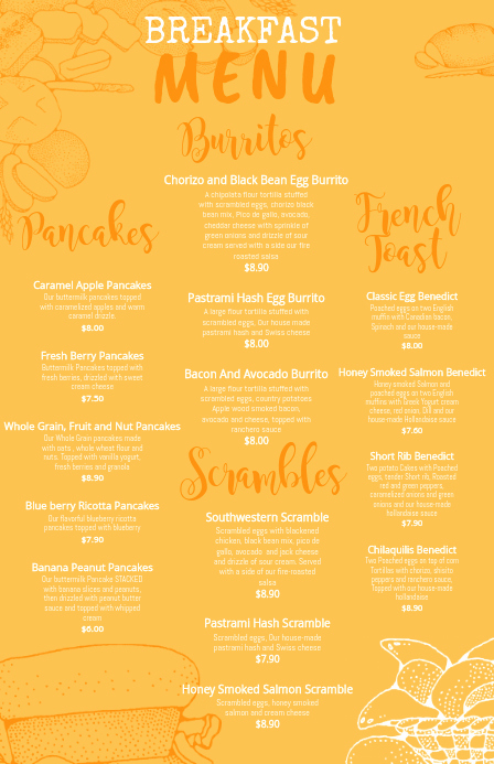 Breakfast Menu Template Free Beautiful Copy Of Yellow Breakfast Menu Template