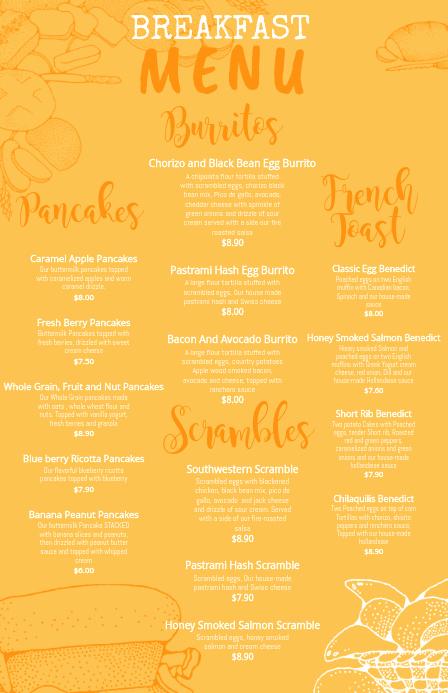 Breakfast Menu Template Free Beautiful Copy Of Yellow Breakfast Menu Template