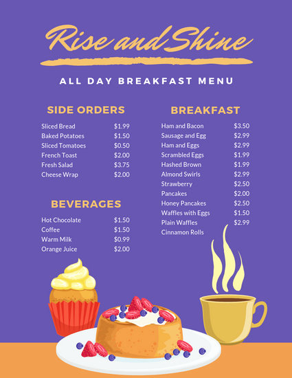 Breakfast Menu Template Free Beautiful Customize 64 Breakfast Menu Templates Online Canva