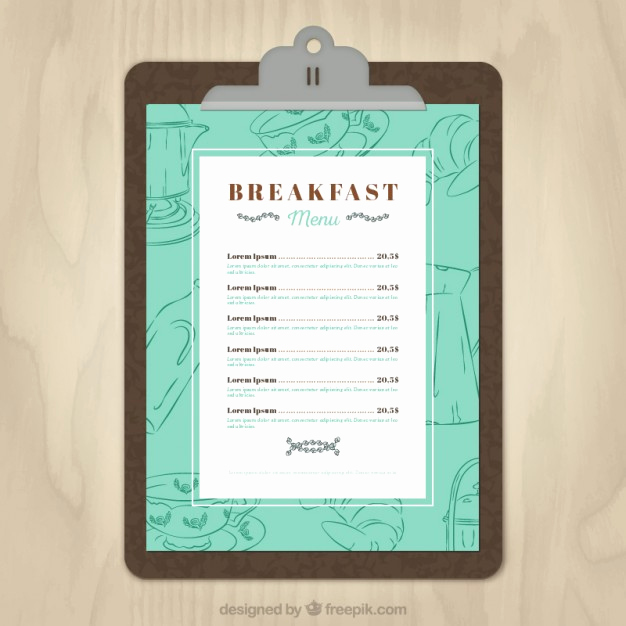 Breakfast Menu Template Free Best Of Breakfast Menu Template Vector