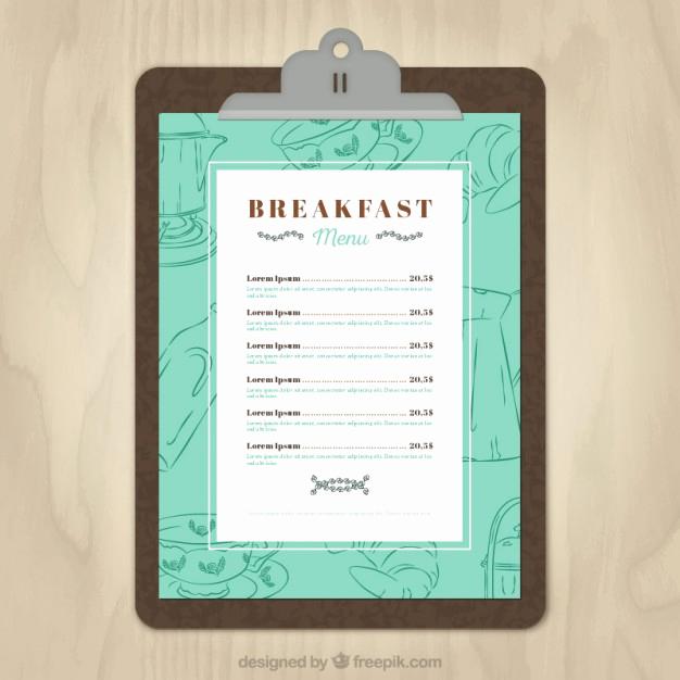 Breakfast Menu Template Free Best Of Breakfast Menu Template Vector
