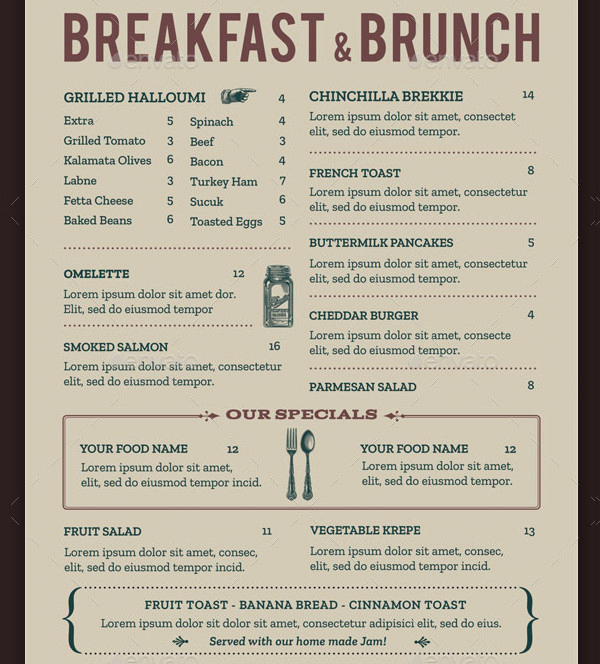 Breakfast Menu Template Free Best Of Brunch Menu Template 21 Free & Premium Designs Download