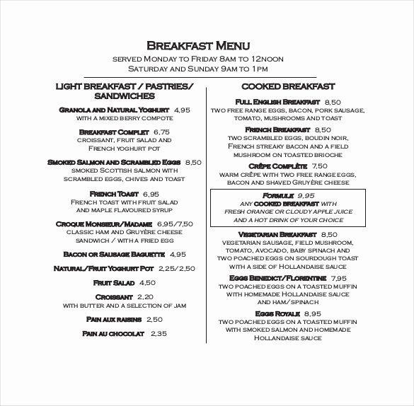 Breakfast Menu Template Free Fresh 32 Breakfast Menu Templates Free Sample Example format